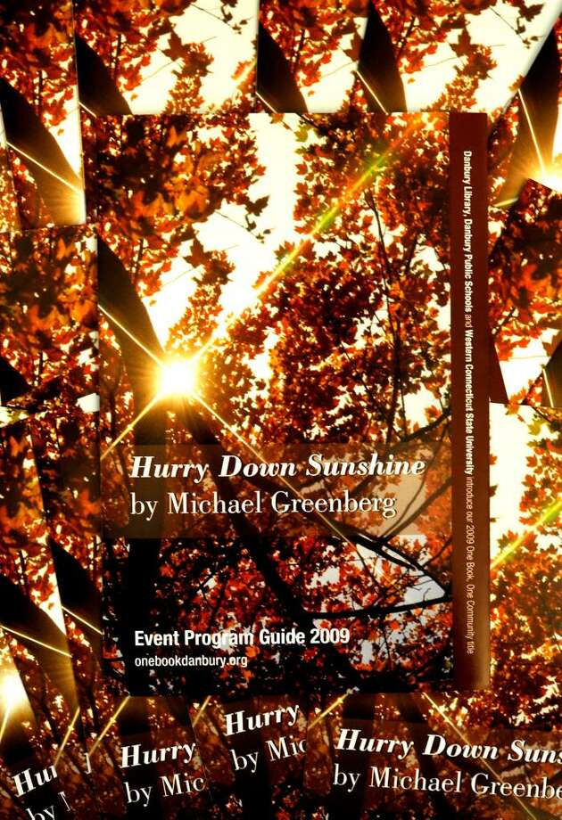 The bookcover of Hurry Down Sunshine, which was announced as the choice for discussion at the One Book, One Community press conference held at the WCSU Hass Library in Danbury on Aug.24, 2009. Photo: Michael Duffy / The News-Times