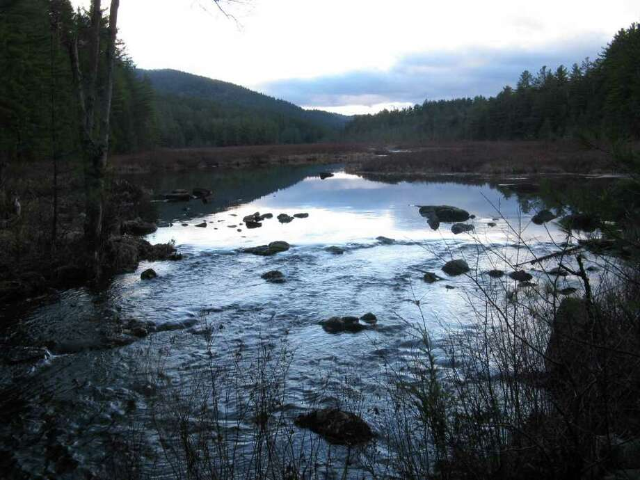 Photo by Herb Terns. The outlet of Berrymill Flow in the Hammond Pond Wild Forest. When it's complete, the North Country Scenic Trail will run near here.