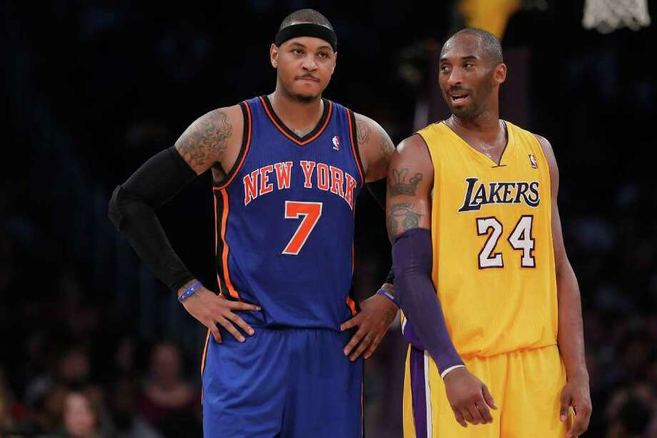 LOS ANGELES, CA - DECEMBER 29:  Carmelo Anthony #7 of the New York Knicks and Kobe Bryant #24 of the Los Angeles Lakers talk during the first half at Staples Center on December 29, 2011 in Los Angeles, California. NOTE TO USER: User expressly acknowledges and agrees that, by downloading and or using this photograph, User is consenting to the terms and conditions of the Getty Images License Agreement.  (Photo by Jeff Gross/Getty Images) Photo: Jeff Gross / 2011 Getty Images