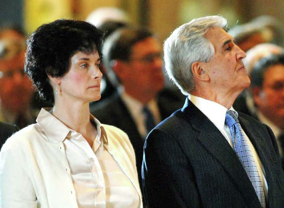 2008 file photo of Susan Bruno, left, and former Senate Majority Leader, Joseph Bruno, right. The State University of New York has ended its appeal of a state Supreme Court decision directing it to give the Times Union signed time sheets for Susan Bruno. The time sheets were sought in 2009 under the New York Freedom of Information Law. (Paul Buckowski / Times Union archive) Photo: Paul Buckowski / ALBANY TIMES UNION