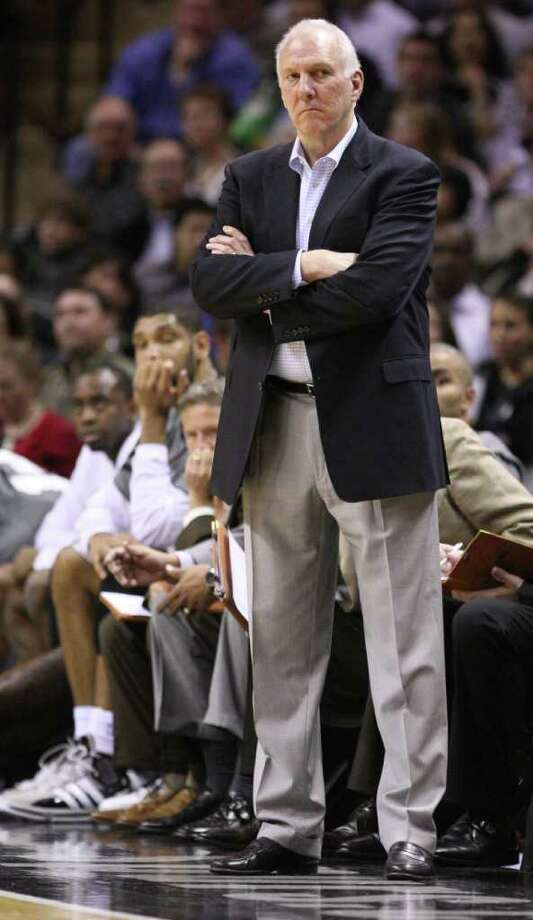 San Antonio Spurs head coach Gregg Popovich looks on during second half action Thursday Jan. 5, 2012 at the AT&T Center. Photo: EDWARD A. ORNELAS, Express-News / SAN ANTONIO EXPRESS-NEWS (NFS)