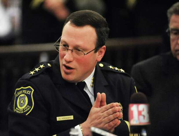 Police Chief Steve Krokoff answers questions from the Albany?s Common Council over the handling of the Occupy Albany raid Thursday, Jan 5, 2012 in Albany N.Y.  (Lori Van Buren / Times Union) Photo: Lori Van Buren