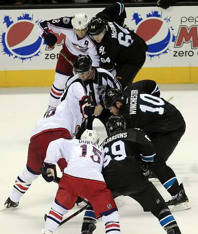 The San Jose Sharks and Columbus Blue Jackets line up for a face-off during the second period of an NHL hockey game in San Jose, Calif., Thursday, Jan. 5, 2012. (AP Photo/Marcio Jose Sanchez) Photo: Marcio Jose Sanchez, Associated Press