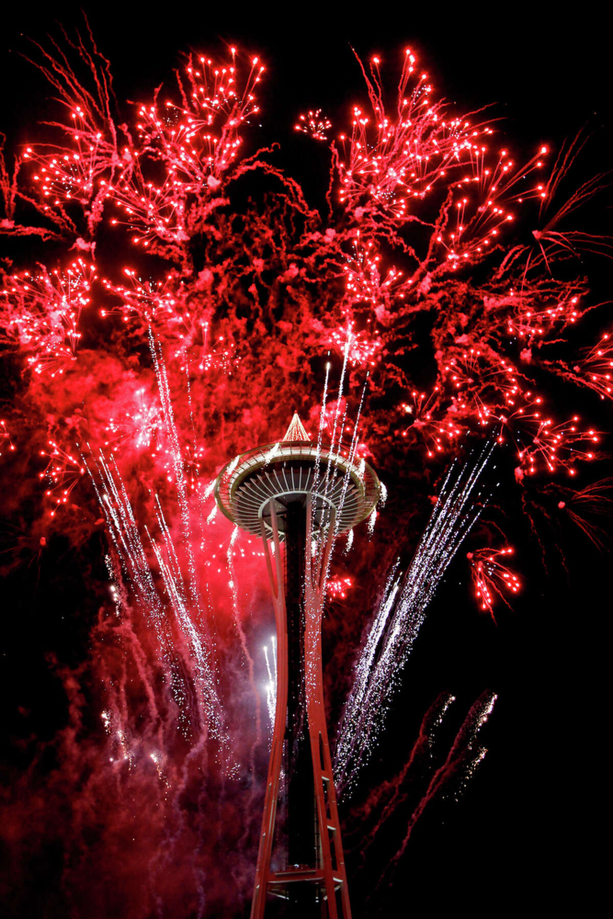Fireworks shot from the Space Needle usher in the year 2012 during a New Years celebration in Seattle on Jan. 1, 2012.