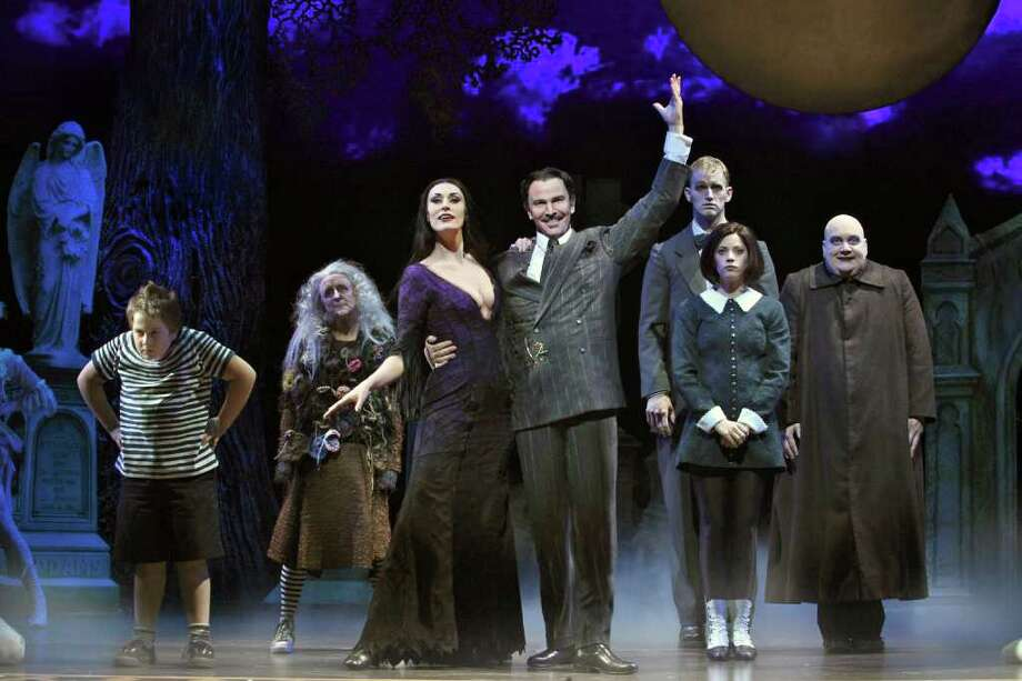 "Patrick D. Kennedy (Pugsley), Pippa Pearthree (Grandma), Sara Gettelfinger (Morticia), Douglas Sills (Gomez), Tom Corbeil (Lurch), Cortney Wolfson (Wednesday) and Blake Hammond (Uncle Fester) in ""The Addams Family."" Photo: Jeremy Daniel"