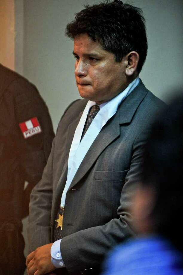 Jose Luis Jimenez, lawyer of Dutch national Joran Van der Sloot, during the preliminary hearing in court in the Lurigancho prison in Lima on January 6, 2011.  Trial gets in Lima for Van der Sloot, accused of killing Flores in 2010 and who also is a suspect in the disappearance years earlier of an American woman in the Caribbean. AFP PHOTO/ Ernesto Benavides Photo: ERNESTO BENAVIDES, AFP/Getty Images / AFP