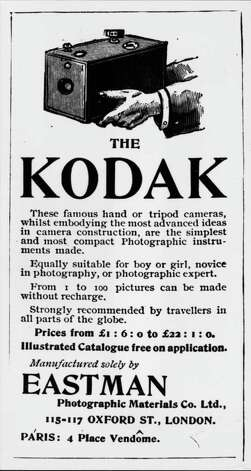 But first, more about Kodak. The company started with George Eastman, who put out the first simple-to-use camera in 1888 (advertised above in 1894). More than a century later, the film-heavy company stumbled in the transition to a digital world. Photo: Hulton Archive, Getty Images / Hulton Archive