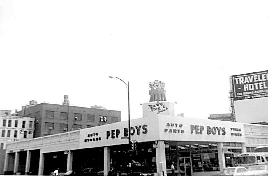 Southeast corner of Broadway and Third Street. In 1960s Iowa, the Pep Boys were unknown. Hence, giant statues of the trio were too much to pass up. Photo: Kolarik / To be published ONLY on the iPad edition.
