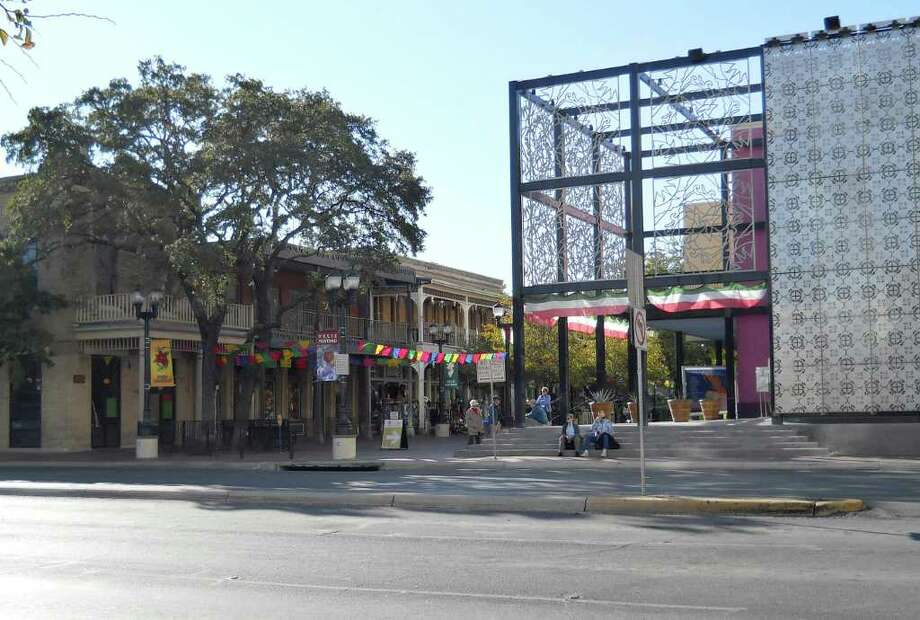 Once a neighborhood shopping district for San Antonians, Market Square has evolved into a popular tourist destination. The buildings to the left have been reconditioned and the Museo Alameda has been added at right. Photo: Kolarik / To be published ONLY on the iPad edition.