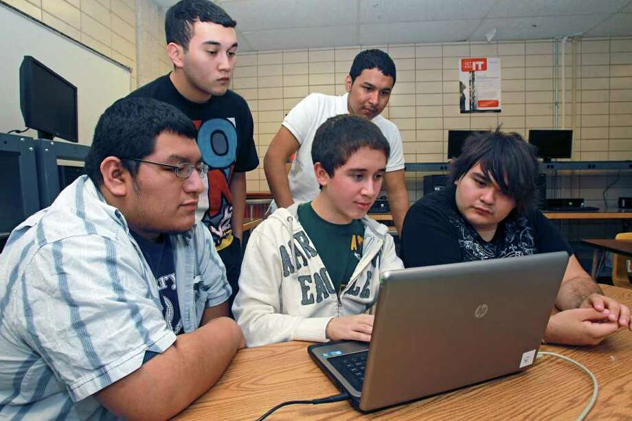 "METRO   Southwest High School students practice for the Cyber Patriot competition after school on January 5, 2012.  From left are Justin Rutten, Albert Alvarez, Stephan Casas, Adolfo Palomo and Jose ""Ricky"" Banda.    Tom Reel/Staff Photo: TOM REEL, SAN ANTONIO EXPRESS-NEWS / © 2011 San Antonio Express-News  MAGS OUT; TV OUT; NO SALES; SAN ANTONIO OUT; AP MEMBERS ONLY; MANDATORY CREDIT; EFE OUT"