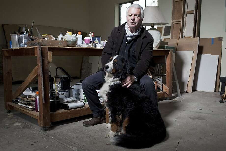 Healdsburg-based painter Wade Hoefer and dog Pluto poses for a portrait at his home studio in Healdsburg, Calif. on Wednesday, Dec. 28, 2011. Photo: Stephen Lam, Special To The Chronicle