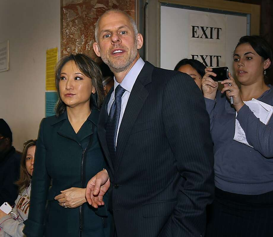 State Assemblywoman Mary Hayashi (left) is escorted from Judge Gerardo Sandoval's courtroom by her attorney Doug Rappaport after she pleaded no contest to misdemeanor theft charges in San Francisco, Calif. on Friday, Jan. 6, 2012. Hayashi allegedly stole clothing and other items from the Neiman Marcus store on Union Square, but Rappaport said she is suffering from a treatable brain tumor. Photo: Paul Chinn, The Chronicle