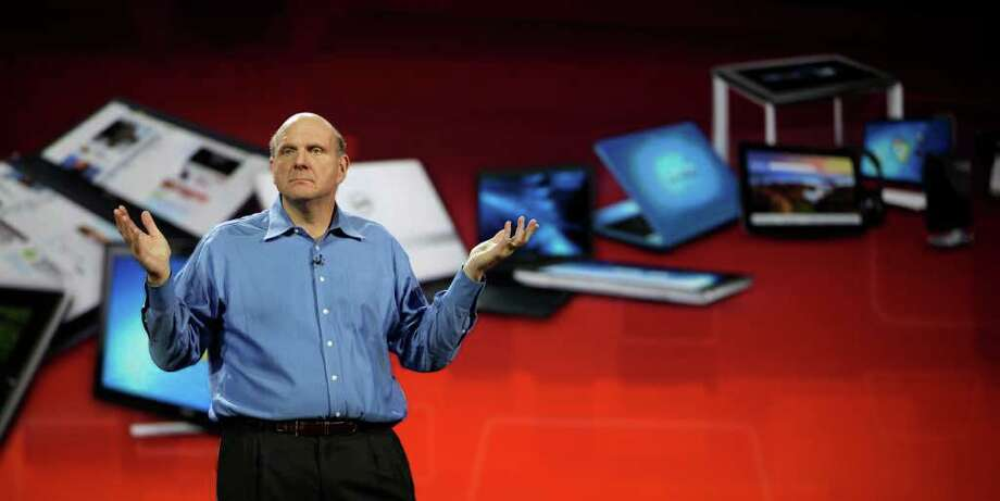 FILE - In this Jan. 5, 2011 file photo, Microsoft chief executive officer Steve Ballmer gives his Keynote speech for the Consumer Electronics Show, in Las Vegas. The International Consumer Electronics Show is getting a track record as the launch pad for products that fall flat. The annual conclave kicks off next week in Las Vegas. (AP Photo/Julie Jacobson, File) Photo: Julie Jacobson