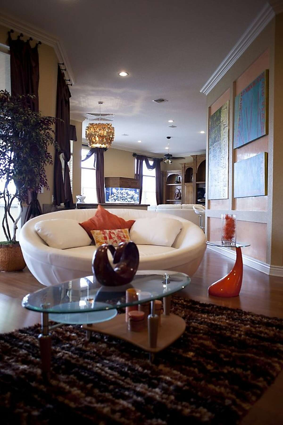 Miami Dolphins cornerback Sean Smith's living room, characterized by geometrical designs and bold colors, is anchored by what designer Antone Barnes calls a