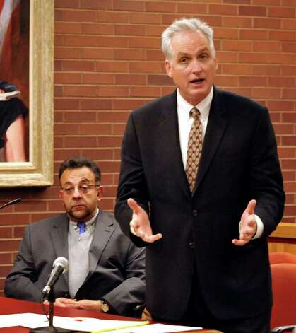 Gene Riccio, right, is the defense attorney in the trial of Danbury businessman Joseph DaSilva Jr. Photo: Michael Duffy