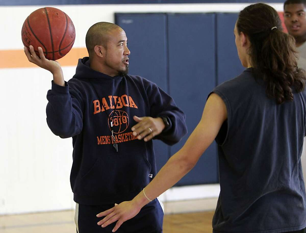 Balboa High School basketball and volleyball coach Val Cubales, during a recent practice in San Francisco, Ca., on Wednesday November 23, 2011.