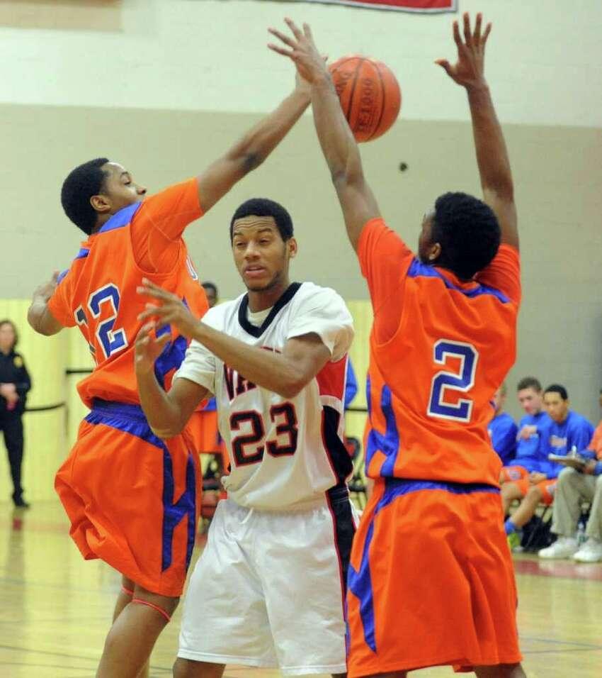 Highlights from boys basketball action between Fairfield Warde and Danbury in Fairfield, Conn. on Friday January 6, 2012.