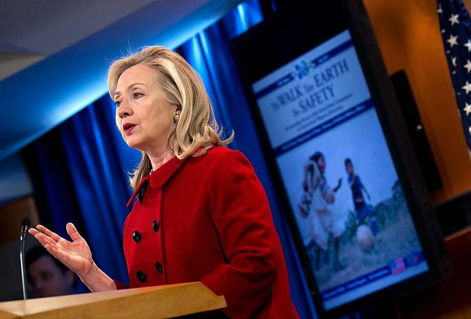 "WASHINGTON, DC - DECEMBER 19:  U.S. Secretary of State Hillary Clinton delivers remarks to mark the 10th edition of ""To Walk the Earth in Safety"" report, which showcases U.S. global leadership in landmine clearance and conventional weapons destruction at the State Department December 19, 2011 in Washington, DC. Clinton declined to comment when asked about the developing story on the Korean peninsula and the death of North Korean dictator Kim Jong-il.  (Photo by Win McNamee/Getty Images) Photo: Win McNamee, Getty"