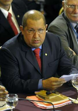 Venezuela's President Hugo Chavez looks on as he attends the Mercosur summit in Montevideo, Uruguay,Tuesday, Dec. 20, 2011. South America's Mercosur trade bloc approved a Palestinian free trade deal Tuesday and then pushed to admit Venezuela as a full member, even at the cost of threatening its founding principles. (AP Photo/Matilde Campodonico)