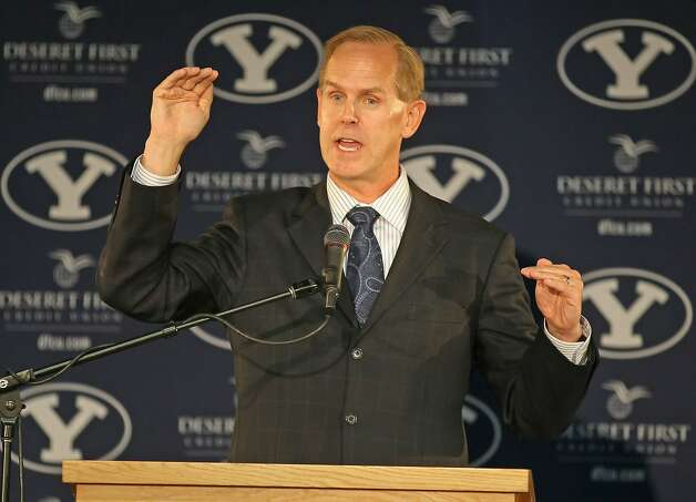 PROVO, UT - SEPTEMBER 1:  BYU  Athletic Director Tom Holmoe announces that BYU football will become independent in football in 2011 separating from the Mountain West Conference, September 1, 2010 in Provo, Utah. The remaining BYU sports will become affiliated with the West Coast Conference in 2011. Photo: George Frey, Getty Images
