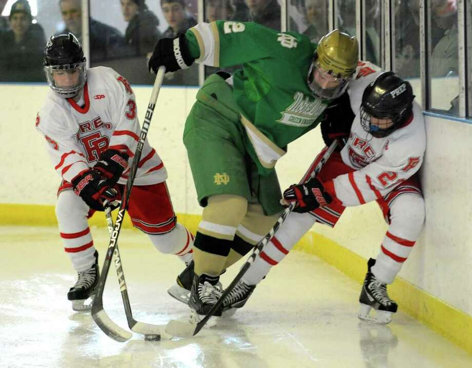 Highlights from boys hockey action between Fairfield Prep and Notre Dame of West Haven in Bridgeport, Conn. on Saturday January 7, 2012. Photo: Christian Abraham / Connecticut Post