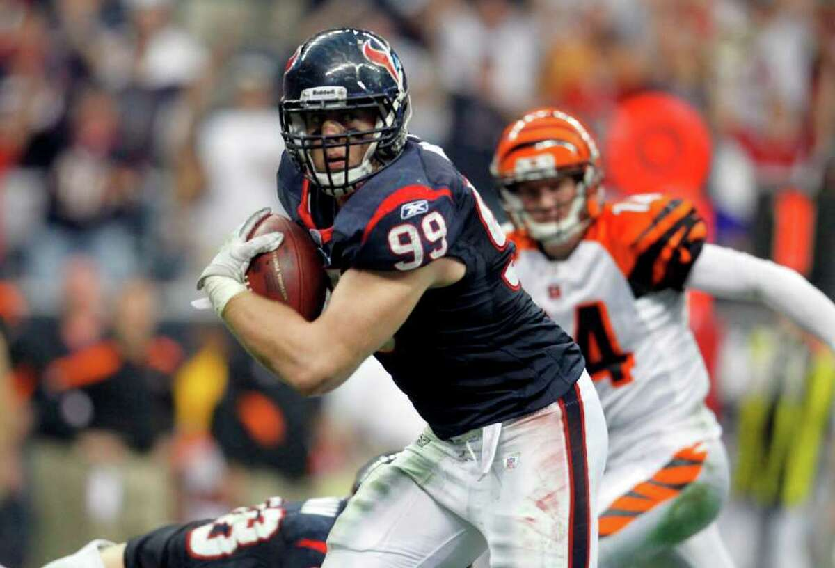No. 4 Jan. 7, 2012: 31-10 playoff win over Cincinnati This is the moment Watt hit the national stage. He sealed the Texans' first playoff win by picking off Andy Dalton in the third quarter and returning it for a touchdown to go along with his two tackles and a sack.