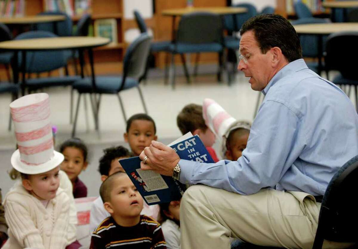 """Before he was elected governor on a platform that included widespread access to early childhood education, then-Stamford Mayor Dannel P. Malloy read from """"The Cat in the Hat"""" to a Hart Elementary School kindergarten class in Stamford in 2007."""