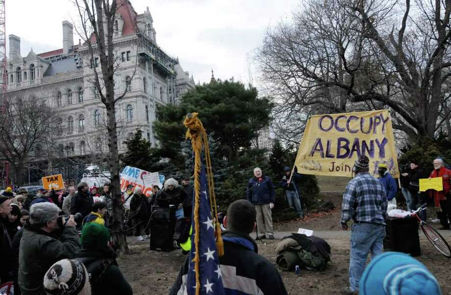 A Occupy Albany rally was held at Academy Park in Albany on Saturday, Jan.7, 2012. ( Michael P. Farrell/Times Union) Photo: Michael P. Farrell
