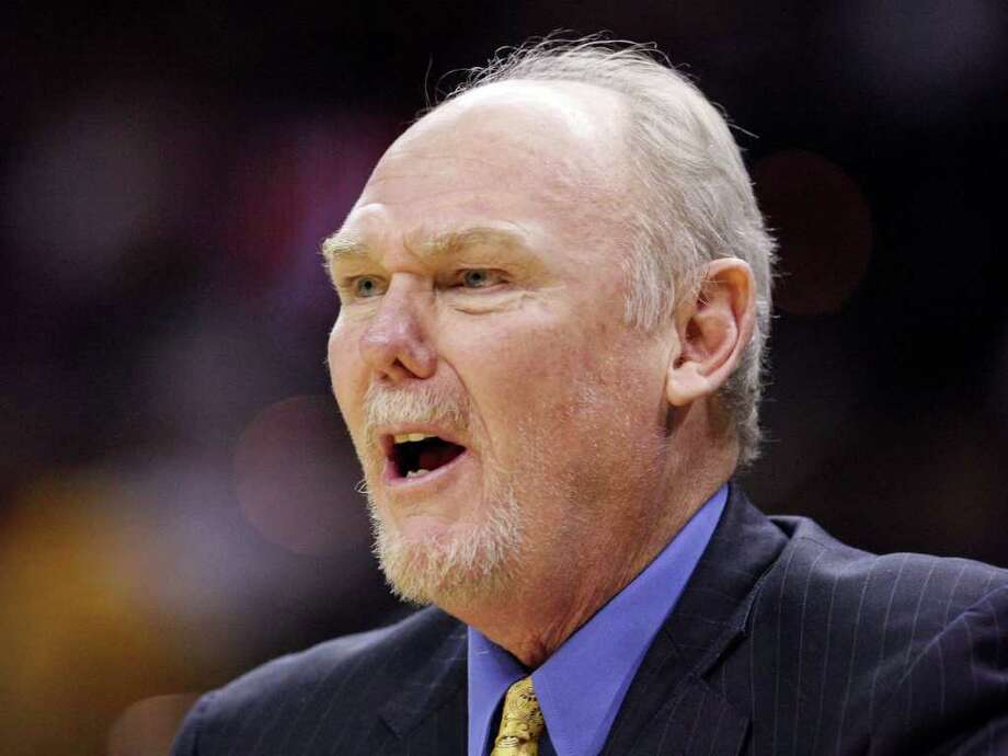 FOR SPORTS - Denver Nuggets' head coach George Karl reacts after a play during second half action against the San Antonio Spurs Saturday Jan. 7, 2012 at the AT&T Center. The Spurs won 121-117. Photo: EDWARD A. ORNELAS / SAN ANTONIO EXPRESS-NEWS (NFS)