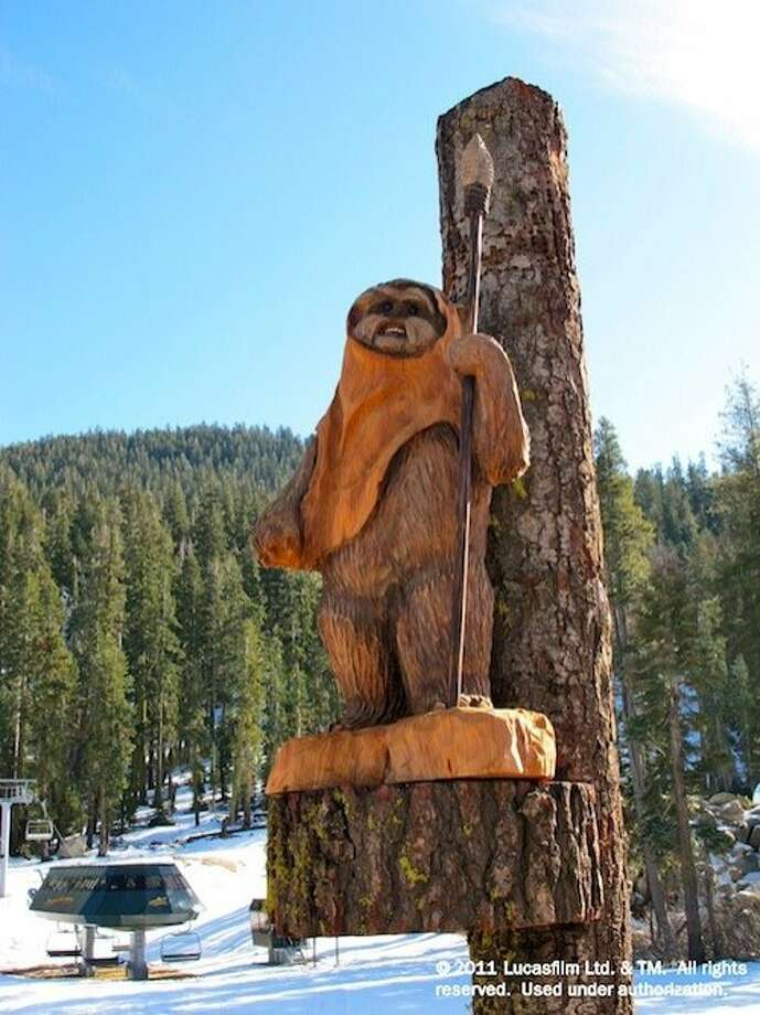The Burton Star Wars Experience is the world s first snowboard park employing Star Wars themes and characters to teach the sport to children as young as 3. The park at Sierra-at-Tahoe Resort combines Jedi methods of balance, movement and control with the Burton Riglet Reel, which attaches to the nose of pint-sized snowboards to help little ones learn. Chainsaw carvings of R2D2, C-3PO, Chewbacca, Anakin Skywalker and cuddly Ewoks will inspire kiddies as they navigate the learning process. Photo: LucasFilm Ltd.