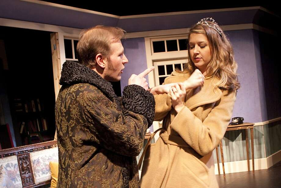 """Brother and sister Felice (Ryan Tasker, male) and Clare (Alexandra Creighton) probe family secrets while trying to improvise a play after being abandoned by their traveling theater company in Theatre Rhinoceros' staging of Tennessee Williams' """"The Two-Character Play."""" Photo: Kent Taylor"""