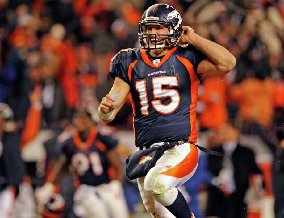Broncos quarterback Tim Tebow celebrates after leading Denver to an overtime victory for the fourth time this season. Photo: AP