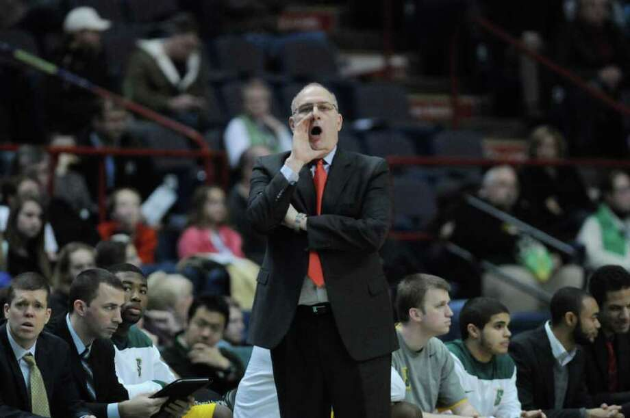Head coach, Mitch Buonaguro of Siena yells to his players during their game against Niagara at the Times Union Center on Sunday, Jan. 8, 2012 in Albany.   (Paul Buckowski / Times Union) Photo: Paul Buckowski