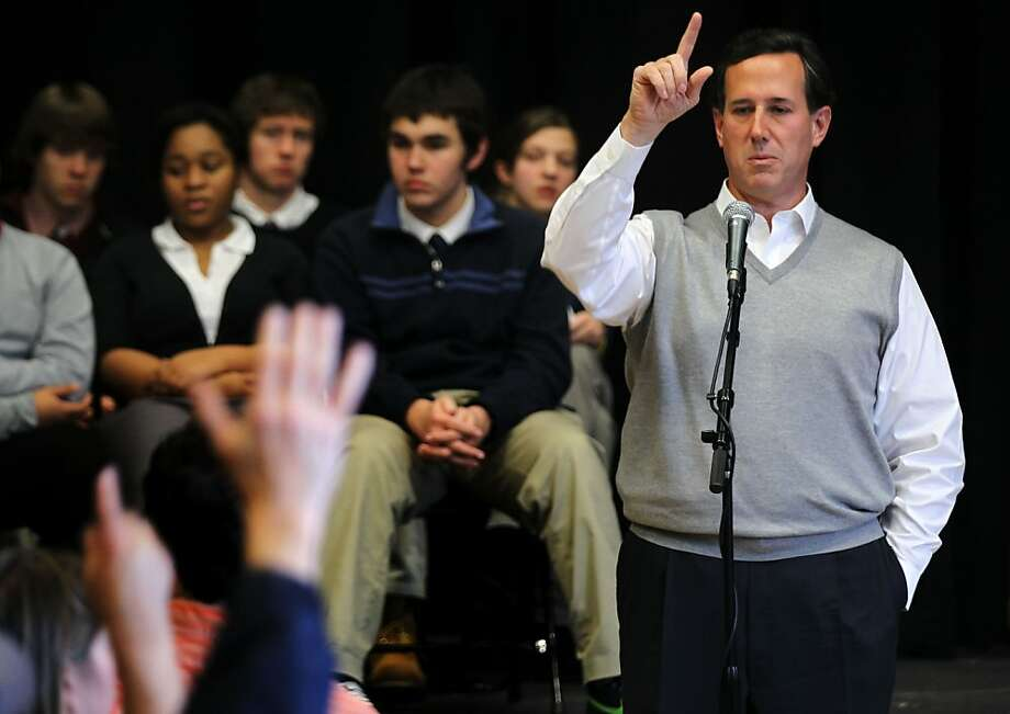 """DUBLIN, NH - JANUARY 06:  Republican presidential candidate, former Sen. Rick Santorum (R-PA) speaks to voters during a town hall meeting on """"Faith, Family and Freedom"""" at Dublin School January 6, 2012 in Dublin, New Hampshire. Santorum continued to campaign in New Hampshire for Tuesday's primary election.  (Photo by Alex Wong/Getty Images) Photo: Alex Wong, Getty Images"""