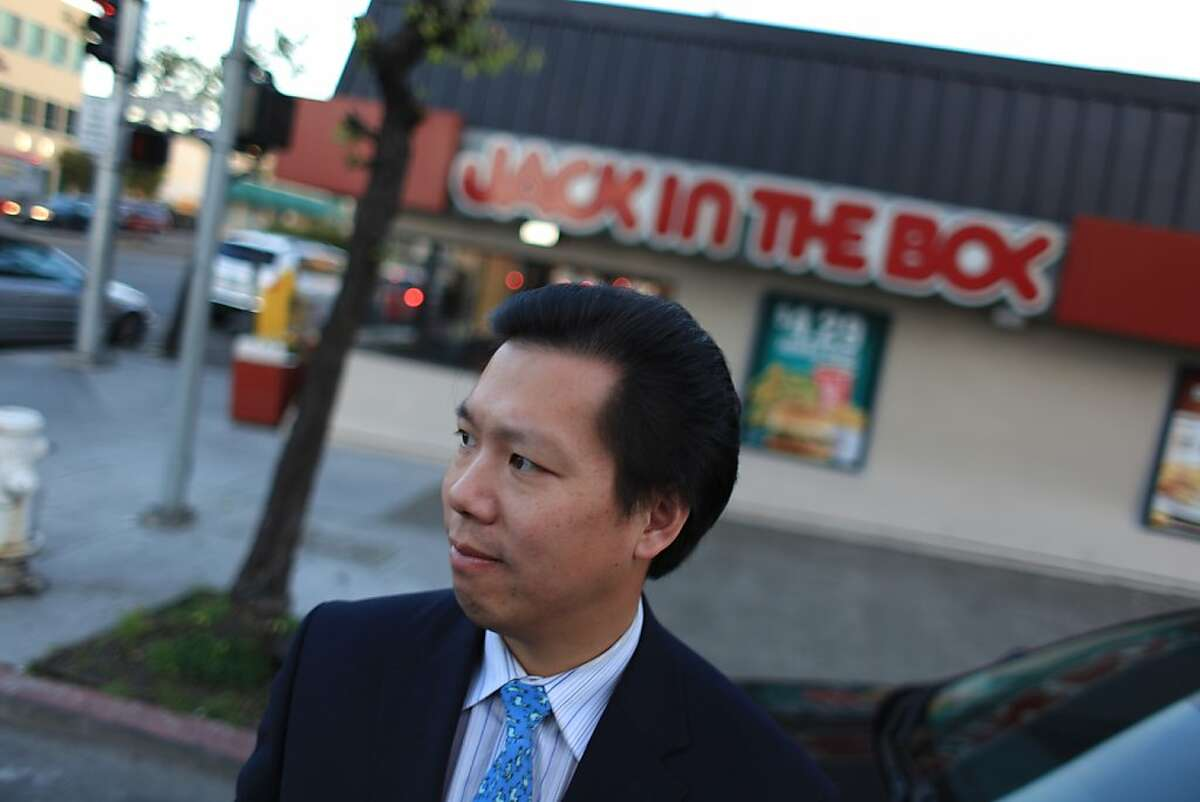 David Lee, founder of Fix the Richmond and who owns a State Farm Agency in the neighborhood, stands in front of a Jack in the Box on Geary Boulevard on Friday, January 6, 2012 in San Francisco, Calif. On Thanksgiving, the Jack in the Box on Geary Boulevard was the site of a late-night fight that resulted in a hit-and-run incident that severely injured a California firefighter.