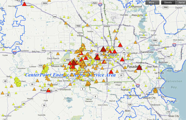 Power outage map at 10:30 a.m. Click here to see it in real time. Photo: (CenterPoint)