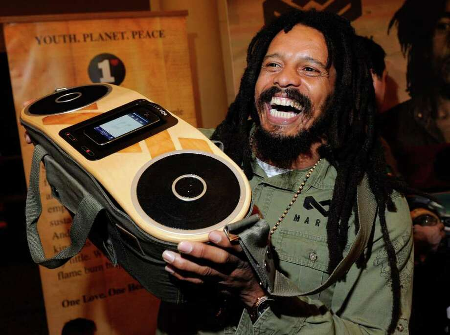 LAS VEGAS, NV - JANUARY 08:  Rohan Marley, son of late Reggae musician Bob Marley, displays the USD 249 Bag of Rhythm audio player with docking station for iPhones and iPods from House of Marley during a press event at The Venetian for the 2012 International Consumer Electronics Show (CES) January 8, 2012 in Las Vegas, Nevada. CES, the world's largest annual consumer technology trade show, runs from January 10-13 and is expected to feature 2,700 exhibitors showing off their latest products and services to about 140,000 attendees.  (Photo by Ethan Miller/Getty Images) Photo: Ethan Miller, Getty Images / 2012 Getty Images