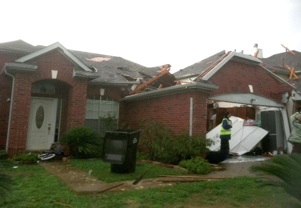 A house near Sugar Land after it was hit by a tornado on Monday, Jan. 9, 2011.