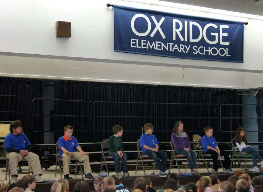 Ox Ridge finalists  fourth-grader John Phipps (second place); fifth-grader Cole Anderson (third place); fourth-grader Jackson Hart (first place); fifth-grader Tommy Ropp; fourth-grader Annie Glassmeyer; fifth-grader Folke Bruno and fourth grader Abigail Agabs. Photo: Contributed Photo
