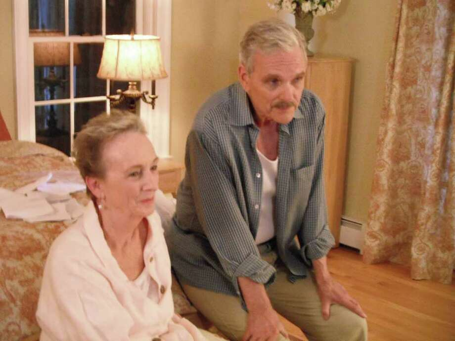 "Fairfield actor Keir Dullea will be reading a new play by Kent Brown of Fairfield - ""Butcher's Cabin"" - at the Edmond Town Hall in Newtown on Jan. 14. Here Dullea is pictured with actress Kathleen Chalfant in an independent film, ""Isn't It Delicious,"" shot in Trumbull last fall and set for release this year. Photo: Contributed Photo"