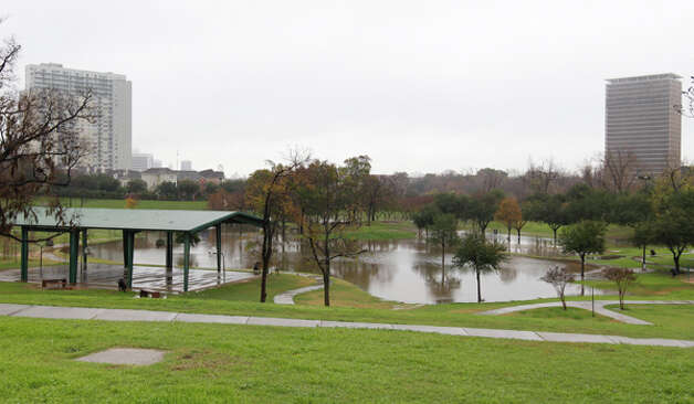 Spotts Park off of Waugh and Memorial Drive sits in several feet of water after drenching thunderstorms dumped several inches of rain early on Monday, Jan. 9, 2012, in Houston. ( Karen Warren / Houston Chronicle ) Photo: HC