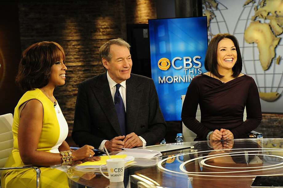 "In this image released by CBS, from left, Charlie Rose, Gayle King and Erica Hill of ""CBS This Morning"" are shown during the premiere broadcast on Monday, Jan. 9, 2012, in New York. (AP Photo/CBS, John P. Filo) Photo: John P. Filo, Associated Press"