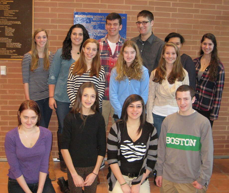 Staples High SchoolâÄôs students of the month for January gathered for a group portrait. Front row, from left, Rowan MacColl, Mikaela Dedona, Jessica Izzo and Isaac Paparo. Middle row, Megan Nuzzo, Austen Ellis and Jamie McGlynn, back row, Olivia Stanley, Christie Cantor, Will Peterson, Tal Segal, Jamie Wheeler-Roberts and Devon Foggio. Also honored but not present for the photo were Shannon Barry, Robert Bene, Jacob Meisel, Jordan Olson and Mackenzie Roof. Photo: Contributed Photo