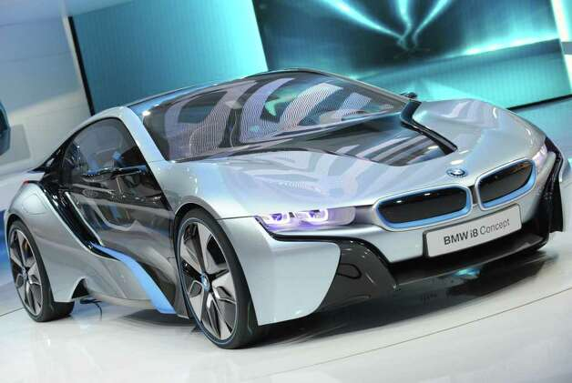 The BMW i8 Concpt car on display during the first press preview day at the 2012 North American International Auto Show January 9, 2012 in Detroit, Michigan. AFP PHOTO/Stan HONDA Photo: STAN HONDA, AFP/Getty Images / 2012 AFP