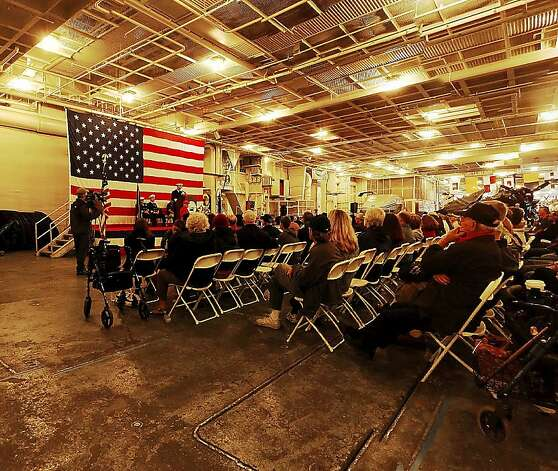 A panorama of the Memorial Day Service inside the USS Hornet, which is part of the USS Hornet Museum in Alameda. Photo: Brant Ward, The Chronicle