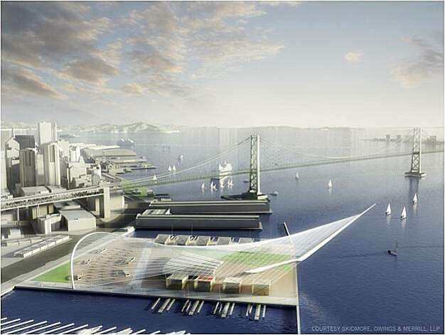 Artist renderings of Piers 30-32, now a parking lot, would be the main public area, with an amphitheater, JumboTron, concessions and hospitality bases where contestants would dock their boats to meet journalists and spectators before racing. Photo: Skidmore, Owings & Merrill, LLP