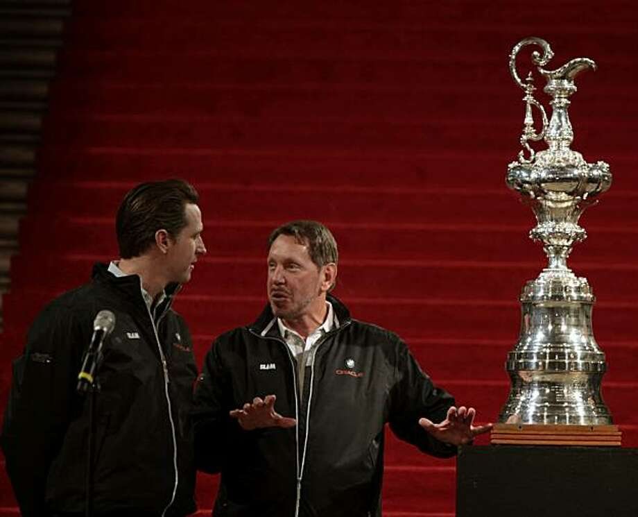 Mayor Gavin Newsom, left, and BMW Oracle Racing team owner Larry Ellison gathered in San Francisco City Hall Rotunda Saturday Feb. 20, 2010. to welcome Ellison's team home to San Francisco after winning the 33rd America's Cup in Spain earlier this month. Photo: Lance Iversen, The Chronicle