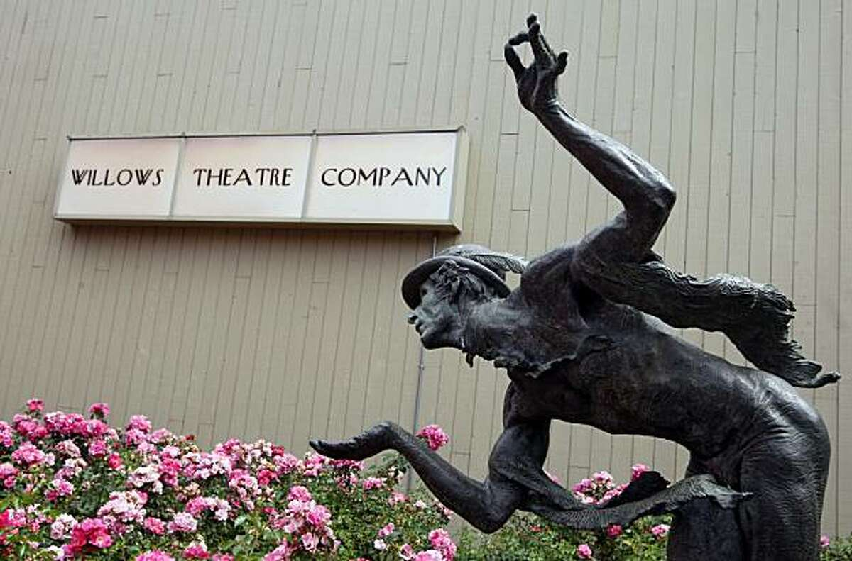 A Bronze statue points to the entrance of the Willows Theater Company in Concord Calif. Wednesday Sept 2, 2009.
