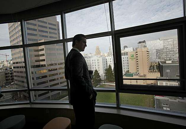 Mayor Gavin Newsom looks out the window at the view looking east down Mission Street from the Edith Witt Senior housing complex which uses a quarter of the units for homeless people. San Francisco mayor Gavin Newsom looks back on his battles against homelessness as he visits some new housing units his policies have created Tuesday December 7, 2010. Photo: Brant Ward, The Chronicle