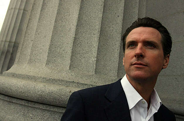 San Francisco Mayor Gavin Newsom stands outside of his office in San Francisco, Calif. on Tuesday, January 6, 2009. Photo: Mark Costantini, The Chronicle